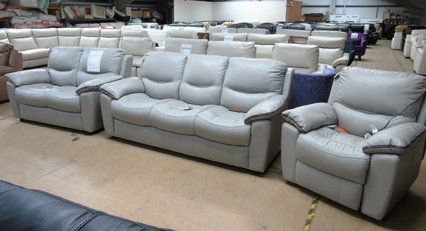 Lille 3 seater, 2 seater and electric recliner chair grey/dark piping £1748 (SWANSEA SUPERSTORE)