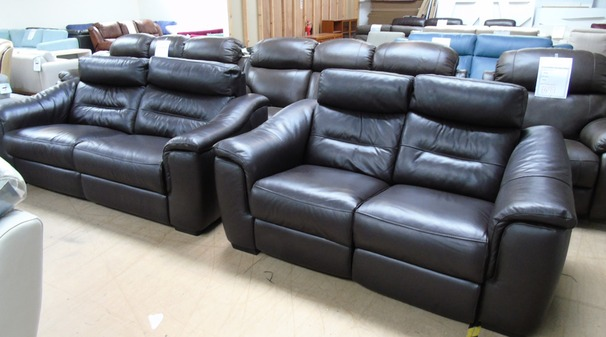 Luxembourg double electric recliner 3 seater and 2 seater dark brown £1499 (SWANSEA SUPERSTORE)