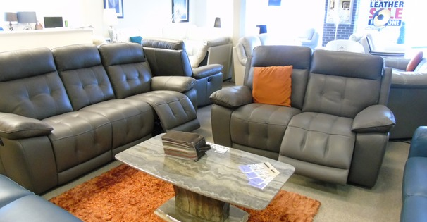 Toledo electric recliner 3 seater and 2 seater taupe grey £2399 (CARDIFF SUPERSTORE)
