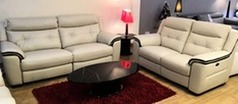 Miami electric recliner 3 seater and 2 seater biscuit hide £2699 (CARDIFF SUPERSTORE) - Click for more details