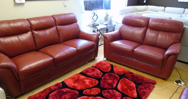 Brussels 3 Seater + 2 Seater in Miami Buffalo Red £1899 (NEWPORT STORE)