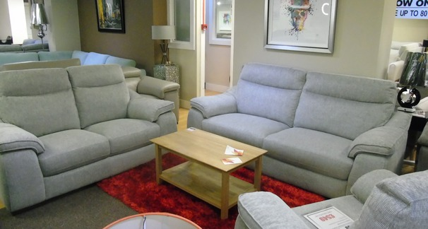 Marseille grey fabric 3 seater and 2 seater £1199 (SWANSEA SUPERSTORE)