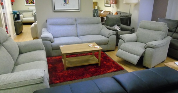 Marseille 3 seater, 2 seater and electric recliner chair grey fabric £1799 (SWANSEA SUPERSTORE)