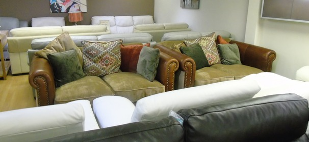 Salisbury 2 seater and 2 seater tan leather/cream fabric £1899 (SWANSEA SUPERSTORE)