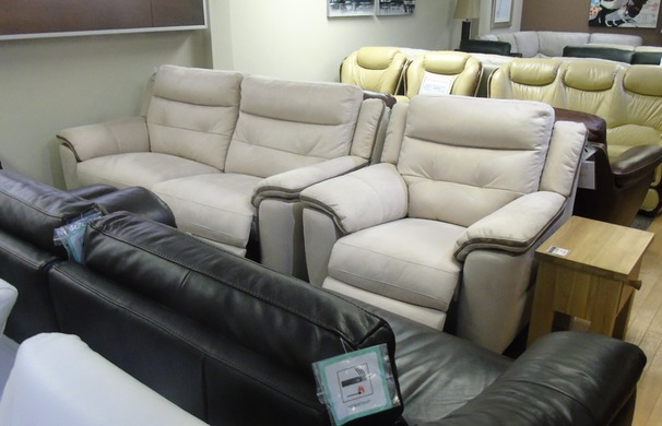 Miami electric recliner 3 seater and 1 electric recliner chair beige fabric  £1499 (SWANSEA SUPERSTORE)