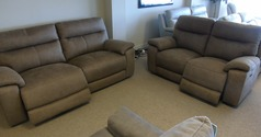 Normandy electric recliner 3 seater and 2 seater Tabac fabric £1899 ( CARDIFF SUPERSTORE) - Click for more details