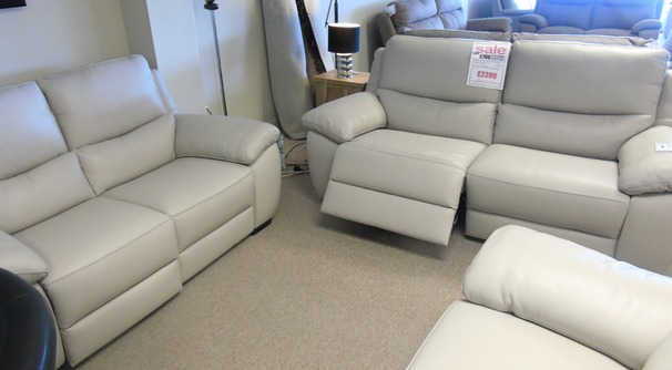 Marino 3 seater and 2 seater stone hide £2399 (CARDIFF SUPERSTORE)