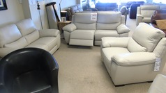 Marino electric recliner 3 seater, 2 seater and chair stone hide £3098 (CARDIFF SUPERSTORE)  - Click for more details