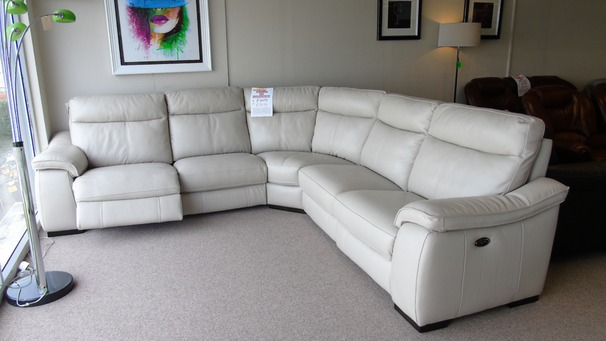 Marseille double electric recliner corner stone grey £2699 (CARDIFF SUPERSTORE)