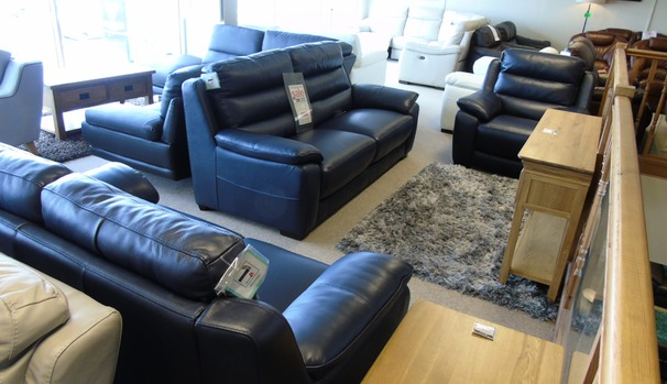 Charlotte 3 seater, 2 seater and power recliner chair navy £2699 ( CARDIFF SUPERSTORE)