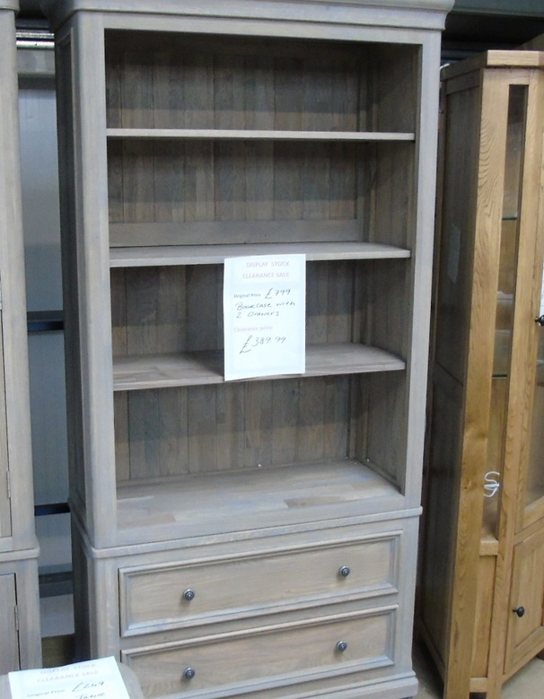 White oak open book case with 2 draws £299 (SWANSEA SUPERSTORE)