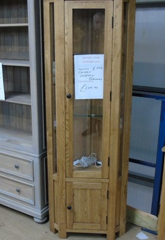 Medium Oak corner display cabinet £239 (SWANSEA SUPERSTORE) - Click for more details