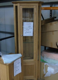 Light oak corner display cabinet £199 (SWANSEA SUPERSTORE) - Click for more details