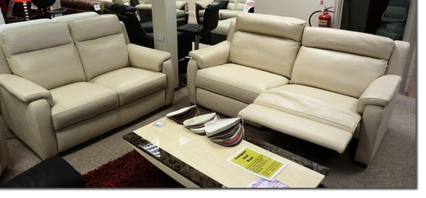 Mendip recliner 3 seater and 2 seater sofa bone £2299 (NEWPORT)