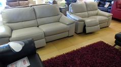 Provence  3 seater and double electric recliner 2 seater stone hide £2499 (NEWPORT) - Click for more details