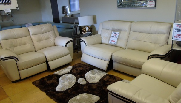 Miami electric recliner 3 seater , 2 seater and chair  biscuit/dark piping £2699 (NEWPORT SUPERSTORE)