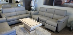 Ostia electric recliner large 3 seater and static 2 seater grey  £2999 (SWANSEA SUPERSTORE) - Click for more details