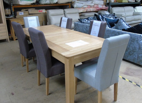 6 foot dining table and six chairs £599 (SWANSEA SUPERSTORE