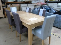 6 foot dining table and six chairs £599 (SWANSEA SUPERSTORE - Click for more details