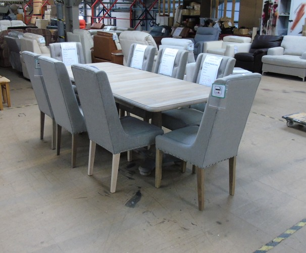 Grey oak large extending table and 8 chairs £799 (SWANSEA SUPERSTORE)