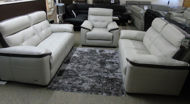 LE MANS  3 seater , 2 seater and electric recliner chair  stone-dark trim £2898 (SWANSEA LEATHER STORE)
