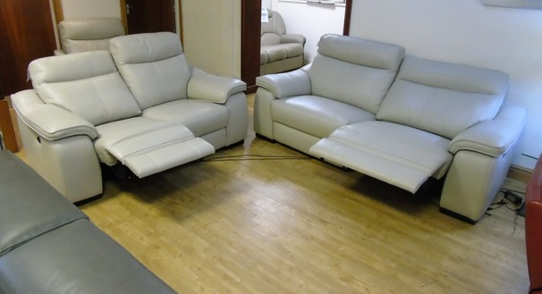 Marseille double electric 3 seater and 2 seater stone grey £2799 (SWANSEA LEATHER STORE)