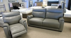Granada 3 seater and 1 electric recliner chair mid grey £1599 (CARDIFF SUPERSTORE) - Click for more details