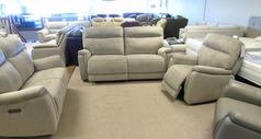 Granada electric recliner 3 seater ,2 seater and chair  grey fabric £2299 (CARDIFF SUPERSTORE) - Click for more details