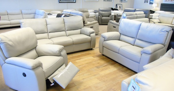 Chiarra 3 seater, 2 seater and electric recliner chair  light grey £2899 (CARDIFF SUPERSTORE)