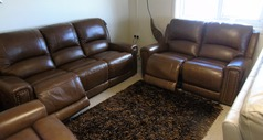 Marlowe electric recliner 3 seater and 2 seater rustic tan £2299 (CARDIFF SUPERSTORE) - Click for more details