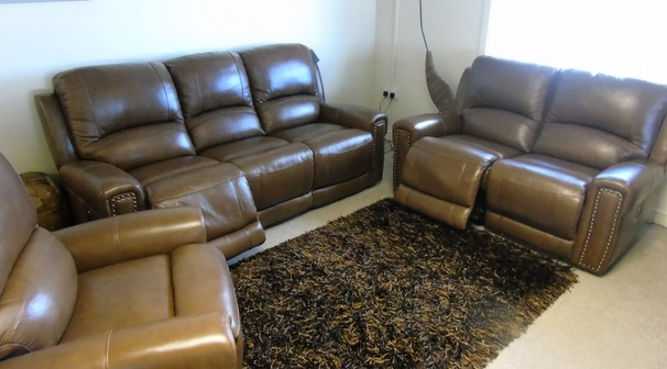 Marlowe electric recliner 3 seater, 2 seater and chair rustic tan £2999 (CARDIFF SUPERSTORE)