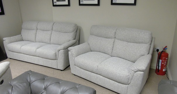 Brussels 3 Seater + 2 Seater in beige fabric £1,299 (CARDIFF SUPERSTORE)