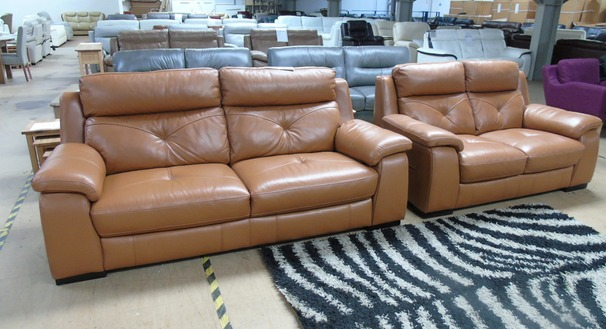 Strasbourg 3 seater and 2 seater burnt orange £1499 (SWANSEA SUPERSTORE)