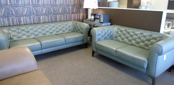Ravenna 3 seater and 2 seater green leather £2799 (SWANSEA SUPERSTORE)