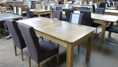Extending light oak table and 4 chairs £449 (SWANSEA SUPERSTORE) - Click for more details