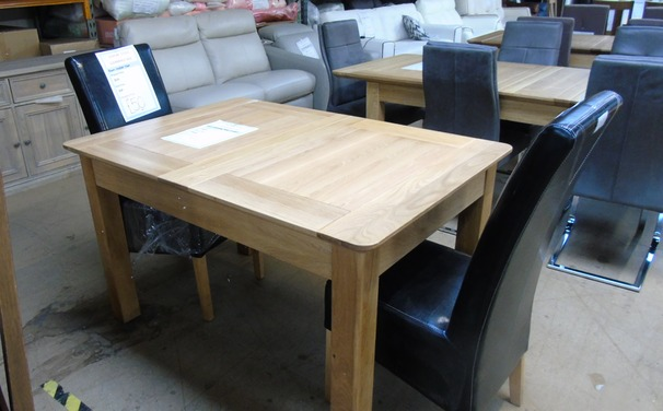Extending  medium oak table and  2 chairs £299 (SWANSEA SUPERSTORE)