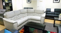 Brighton light grey leather corner suite £799 (SWANSEA SUPERSTORE) - Click for more details