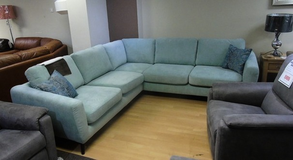 Cirrus light blue corner suite £599 (SWANSEA SUPERSTORE)
