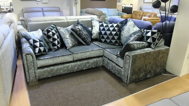 Crushed velvet fabric corner suite £449 (SWANSEA SUPERSTORE)