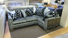 Crushed velvet fabric corner suite £449 (SWANSEA SUPERSTORE) - Click for more details