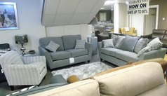 VESTRA 3 seater, 2 seater and accent chair grey-cream fabric £1399 (SWANSEA SUPERSTORE) - Click for more details