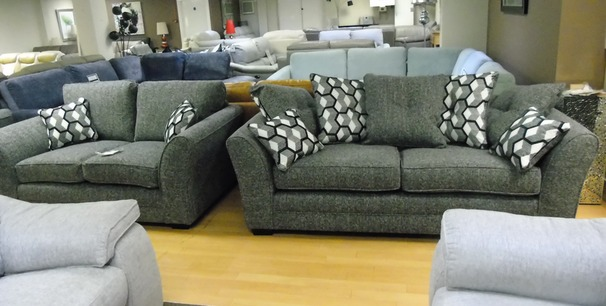 Loreen 3 seater and 2 seater grey fabric £999 (SWANSEA SUPERSTORE)