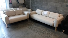 Malmo 3 seater and 2 seater beige fabric £499 (SWANSEA SUPERSTORE) - Click for more details