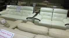 Lyon 3 seater and 2 seater recliner   white with purple stripe £999 (CARDIFF) - Click for more details