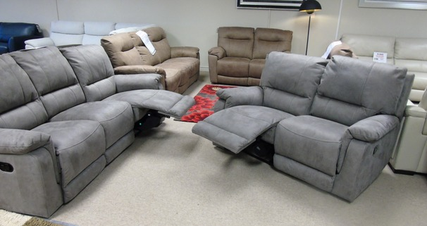Melanie recliner 3 seater and standard chair dark grey £999 (CARDIFF SUPERSTORE)