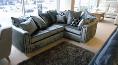 Crushed velvet fabric corner suite £449 (CARDIFF SUPERSTORE) - Click for more details