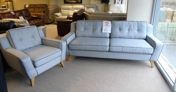 Peroda 3 seater and 1 chair grey fabric £499 (CARDIFF SUPERSTORE)