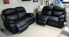 Barcelona electric recliner 2 seater and 2 seater black £999 (CARDIFF SUPERSTORE) - Click for more details