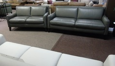 Ferrara 3 seater and 2 seater dark grey leather £1799 (CARDIFF SUPERSTORE) - Click for more details