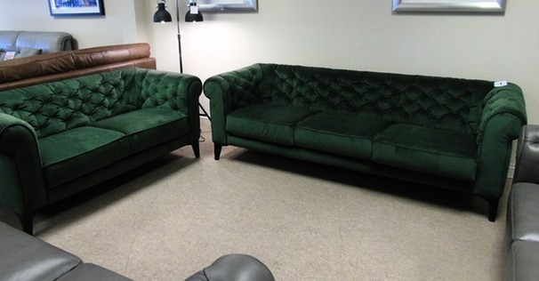 Ravenna 3 seater and 2 seater green velvet £999 (CARDIFF SUPERSTORE)